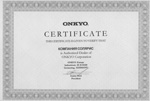 Сертификат Onkyo